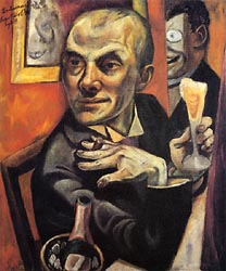Self Portrait with Champagne Glass 1919