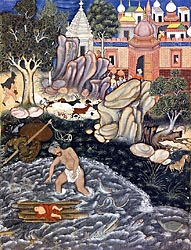 Iskandar Finds the Infant Darab - Hamza Nama series, Mughal