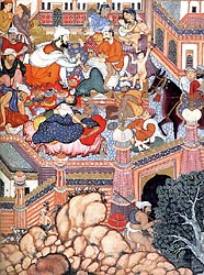 Amr disguised as Doctor Musmahil treating sorcerers in a Courtyard - Mughal School Akbar Period, 1562-77