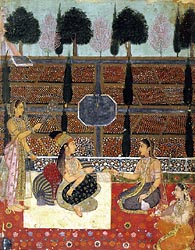 Ladies on a Terrace - Mughal School, c1700-1710