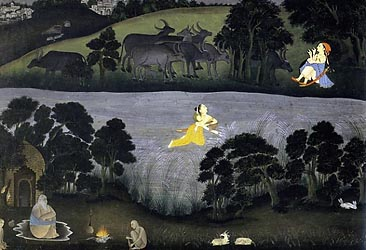 Sohni swims to meet her loverMahinwal - Provincial Mughal, Farrukhabad, c1775-80
