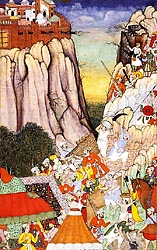 Akbar Directs the Attack against Ranthambhor fort in 1569 - Mughal, c1590-95