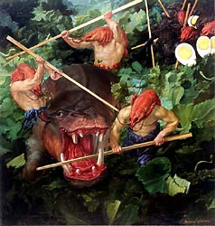 The Hunt Seen in the Shrimp Salade, 2001 (80x85cm)